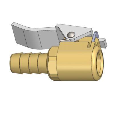 Brass Air Chuck For American Valve Dimetric View